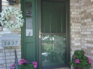 green painted front door